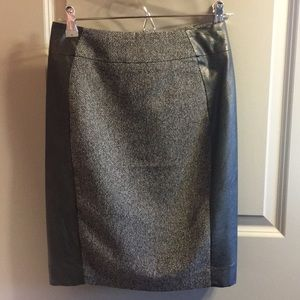 Black and grey faux leather pencil skirt